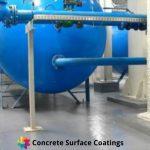 chemical resistant industrial floor coatings around chemical tank